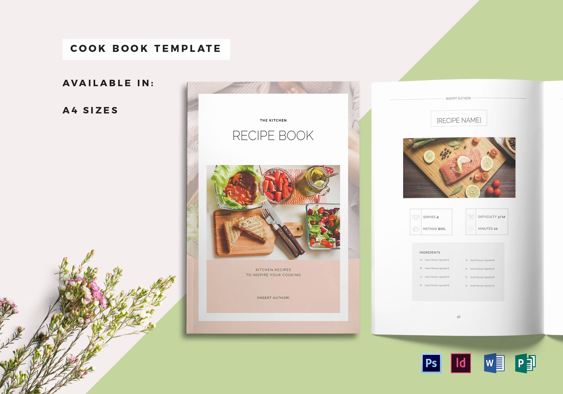 Recipe Book Cover Template In Psd Word Publisher Indesign