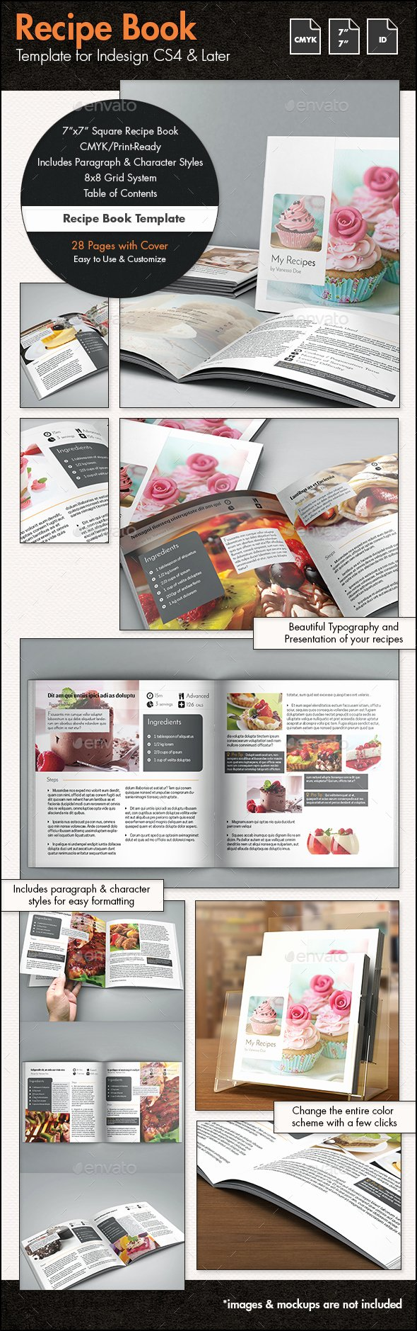 Recipe Book Template 7x7in by Sthalassinos