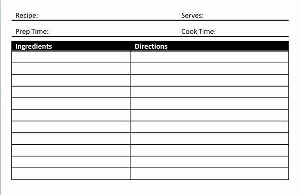 Recipe Card Template Microsoft Word Blank Card