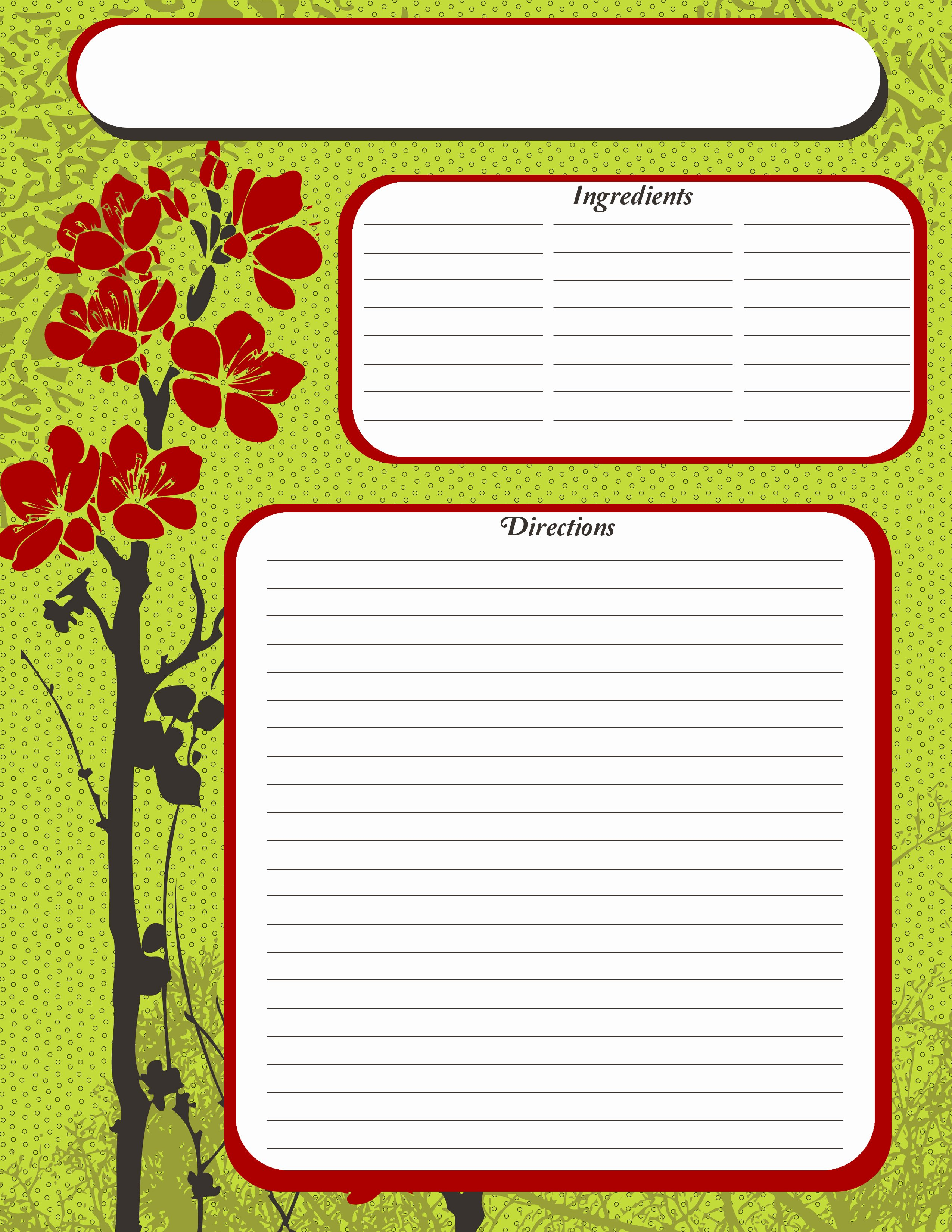 Recipe Cards Pages and A Few Extras