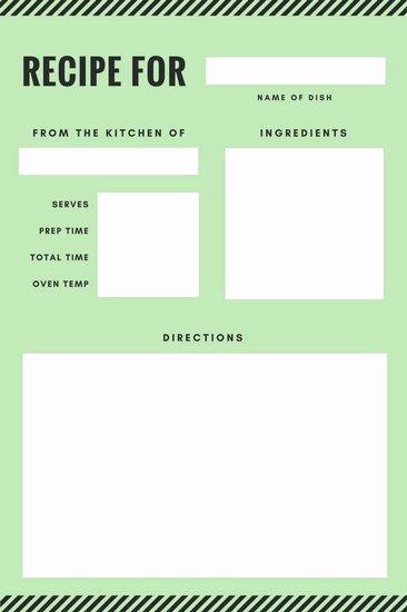 Recipe Template Dc Design