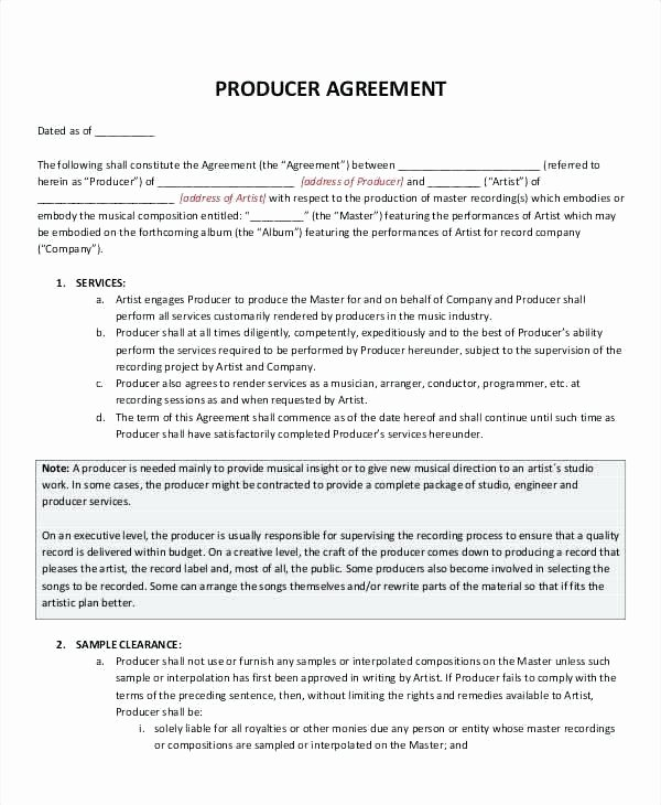 Record Deal Contract Template – Azserverfo