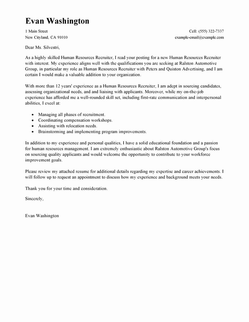 Recruiting and Employment Cover Letter Examples