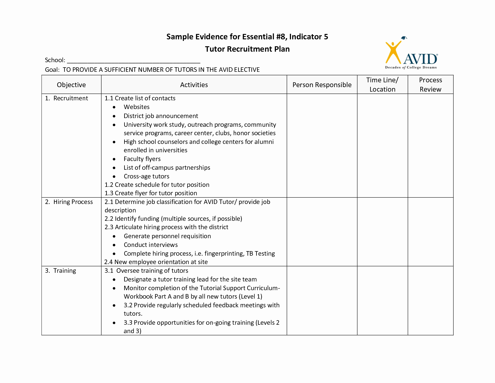 Recruitment Planner Template
