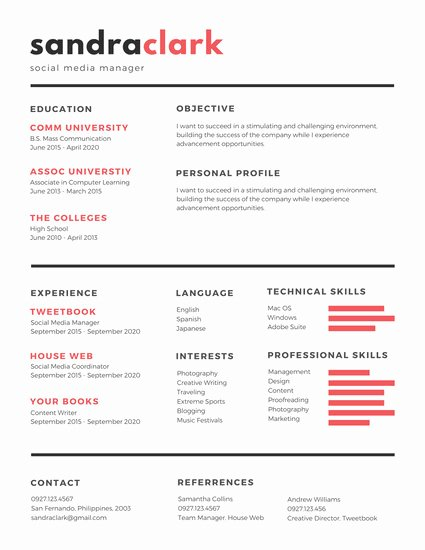 Red Black social Media Manager Resume Templates by Canva