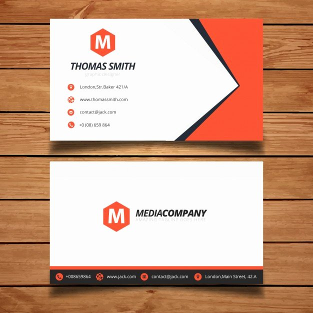 Red Business Card Template Design Vector