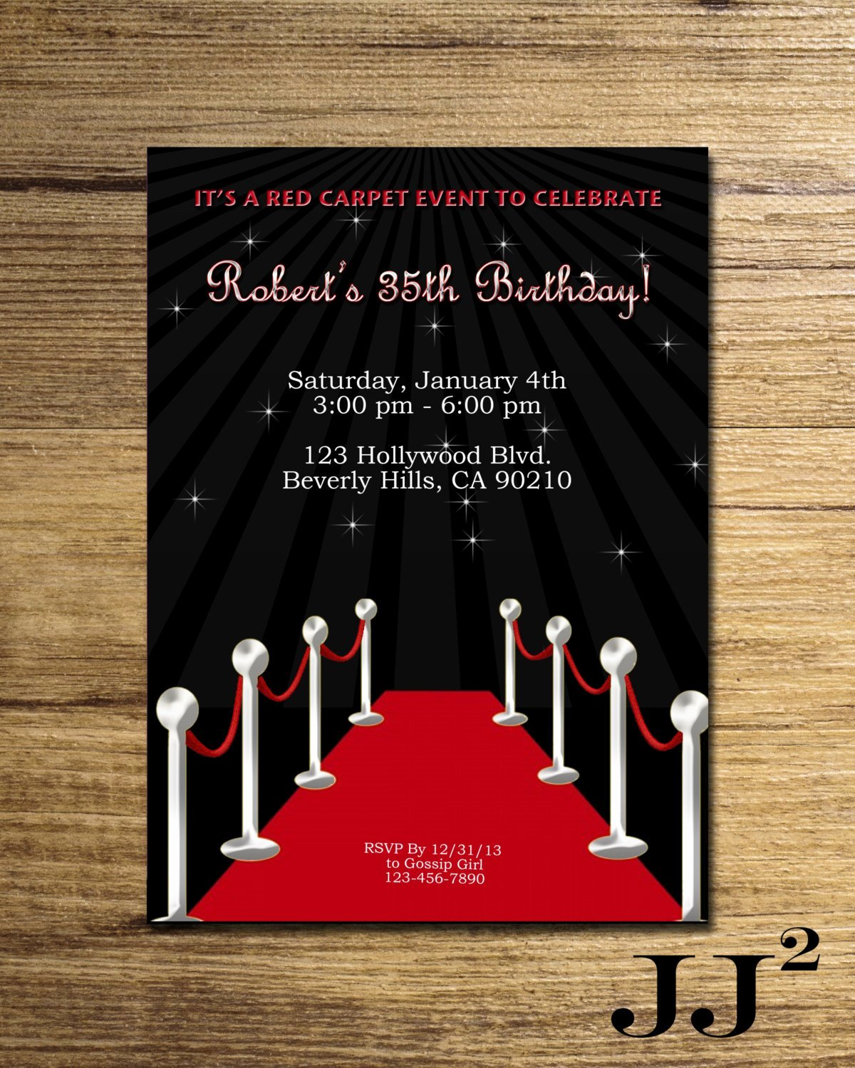 Red Carpet Birthday Party Invitation Glam Hollywood