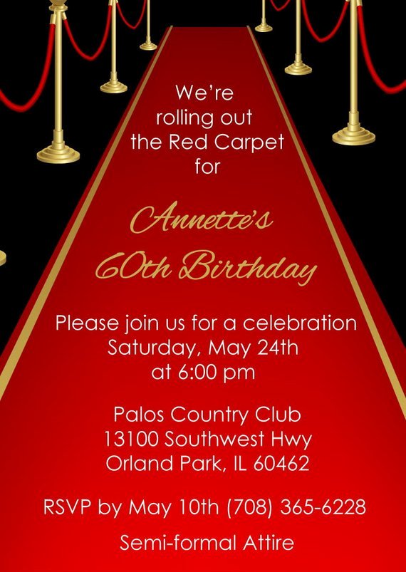 Red Carpet Invitation Adult Red Carpet by Announceitfavors