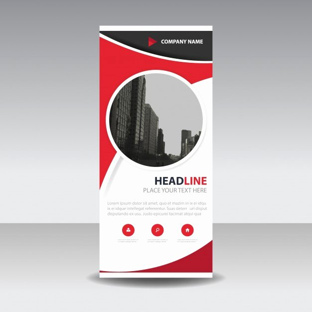 Red Circle Creative Roll Up Banner Template Vector