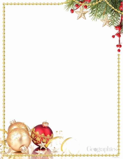 Red Gold ornaments Christmas Letterhead Gold Foil W