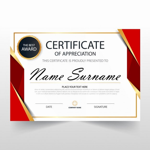 Red Horizontal Certificate Template Vector