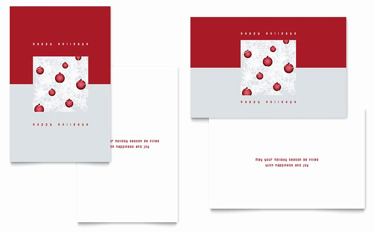 Red ornaments Greeting Card Template Word & Publisher