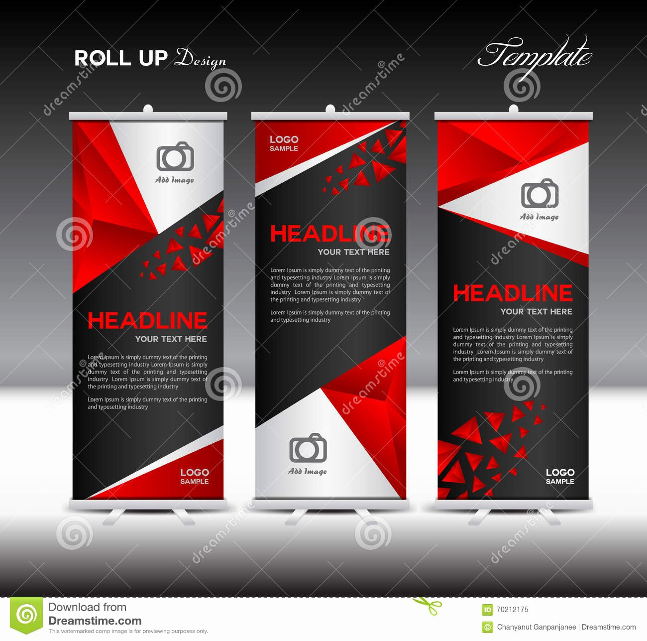 Red Roll Up Banner Template Vector Illustration Banner