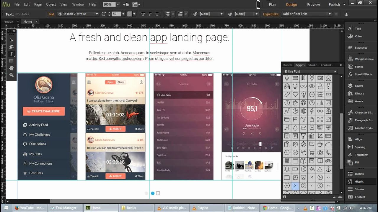 Redux Free App Landing Page Template for Adobe Muse Cc
