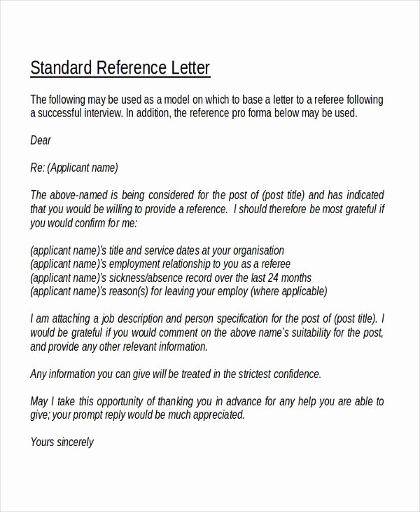 Referee Reference Letter Letter Of Re Mendation