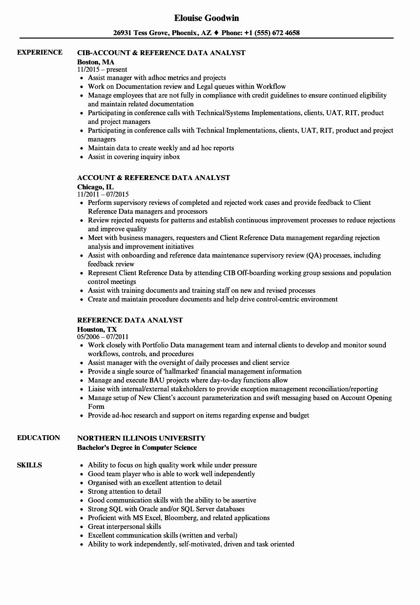 Reference Data Analyst Resume Samples