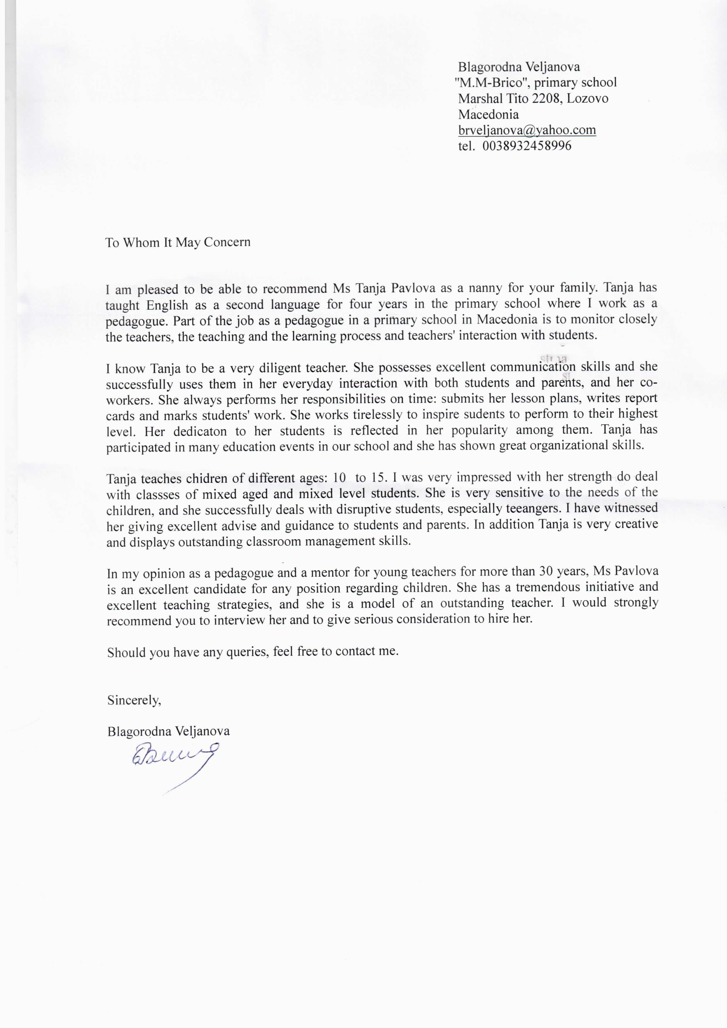Reference Letter for Nanny Cover Letter Samples Cover