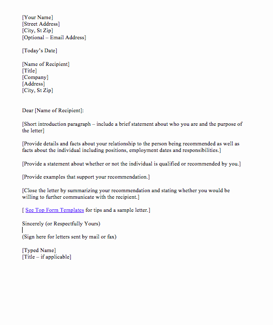 Reference Letter for Student Sample