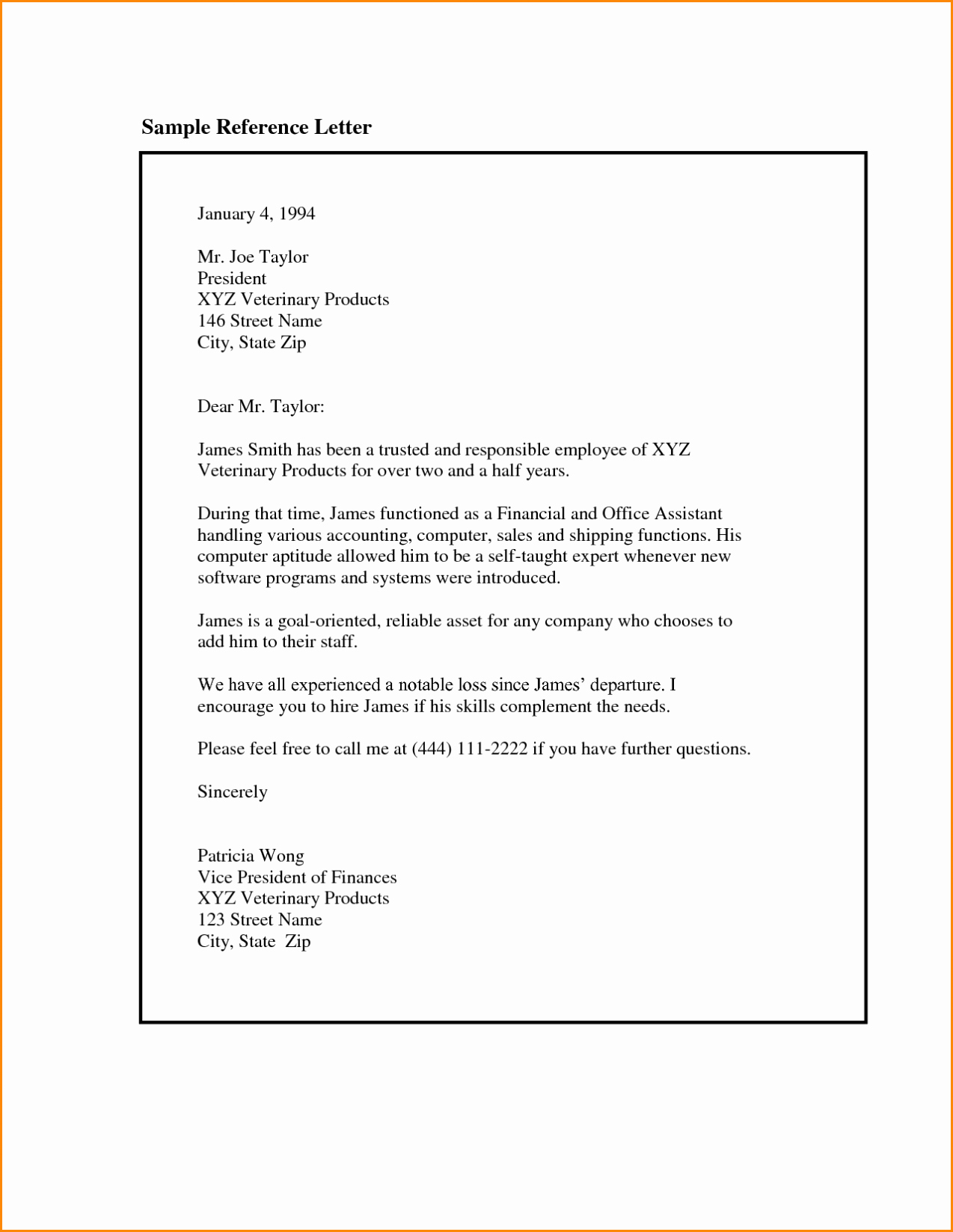 Reference Letter format Template Sample
