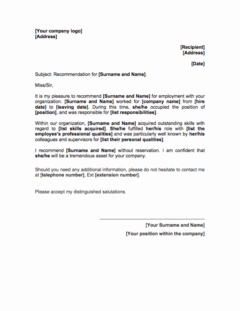 Reference Letter Template Free Hr tools
