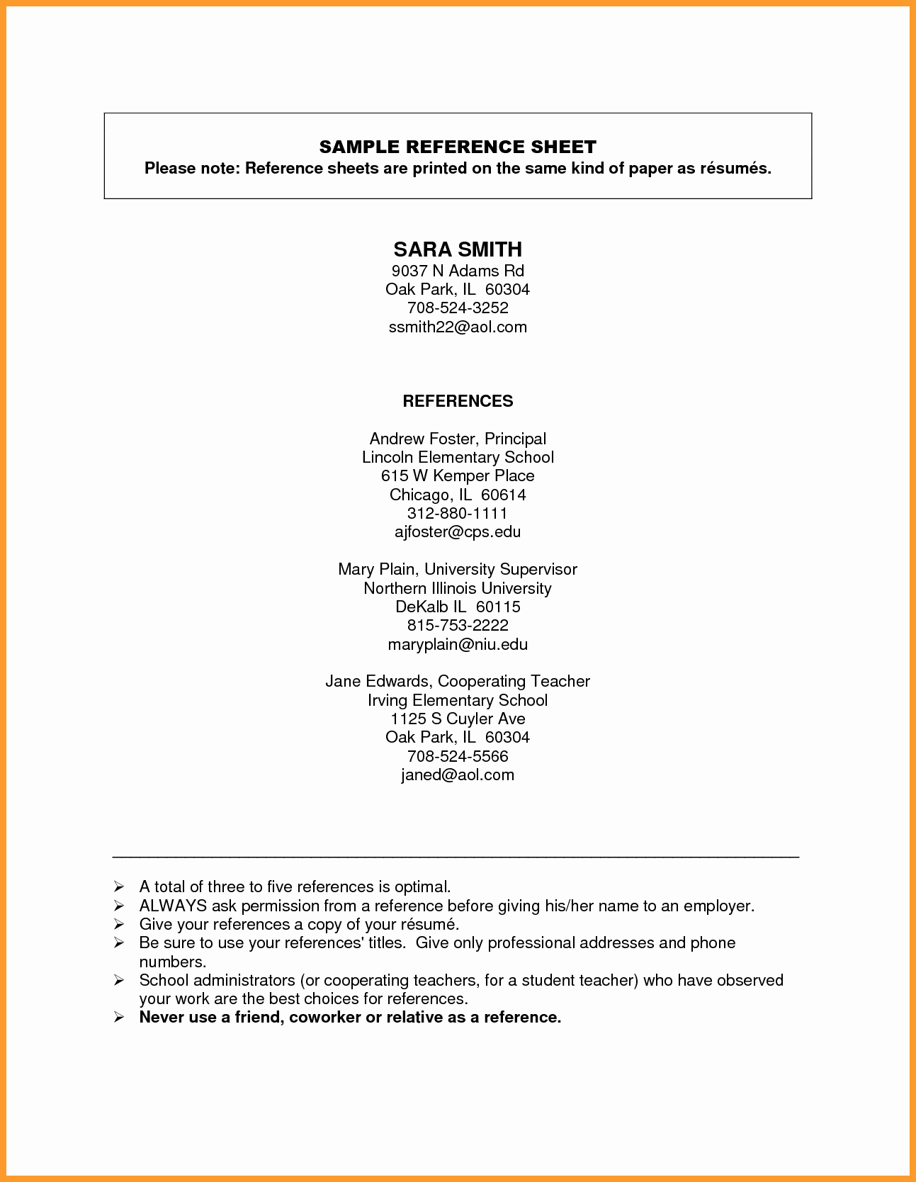 Reference Page Template Free Cover Letter Samples