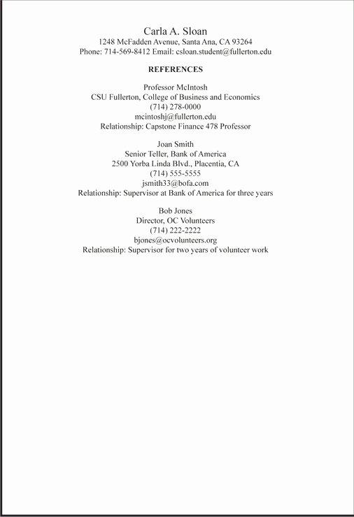 Reference Resume Sample