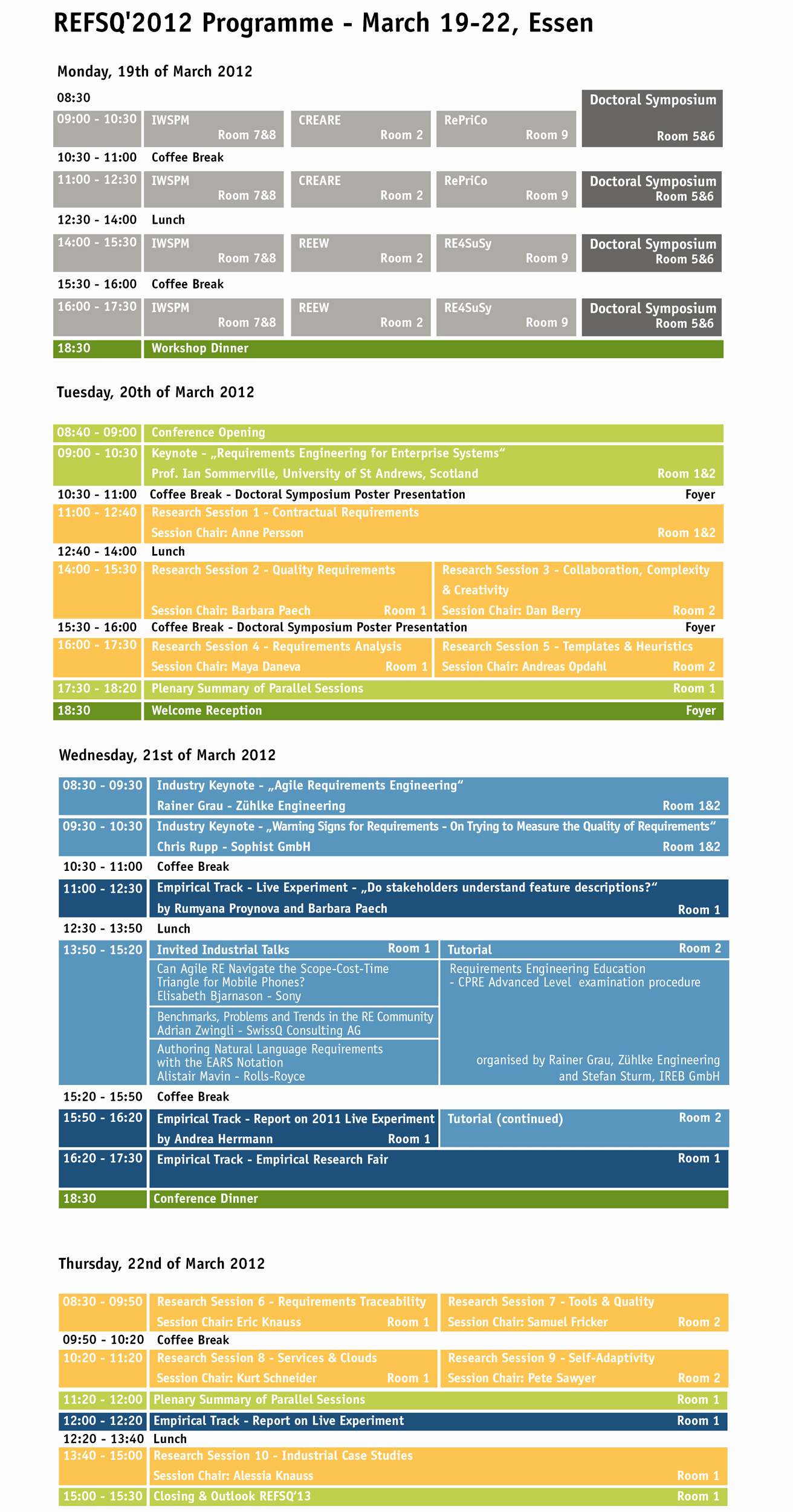 Refsq 2012 Conference Programme