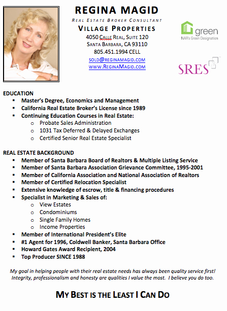 Reginamagid Santa Barbara Real Estate Broker Resume