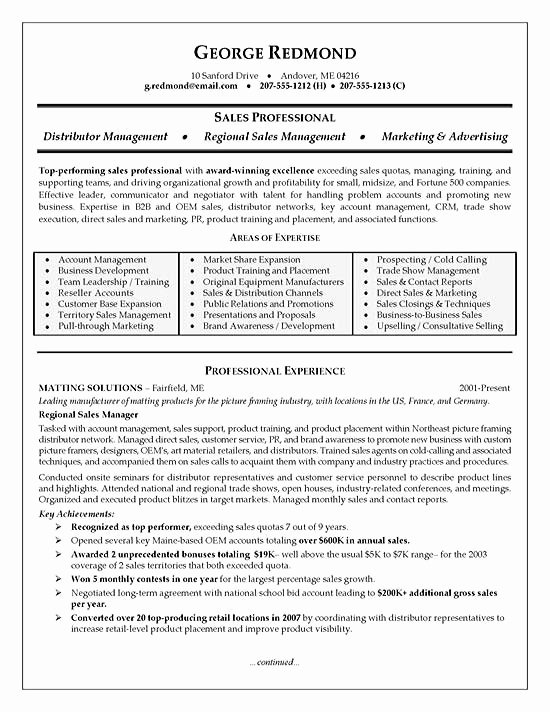 Regional Manager Resume
