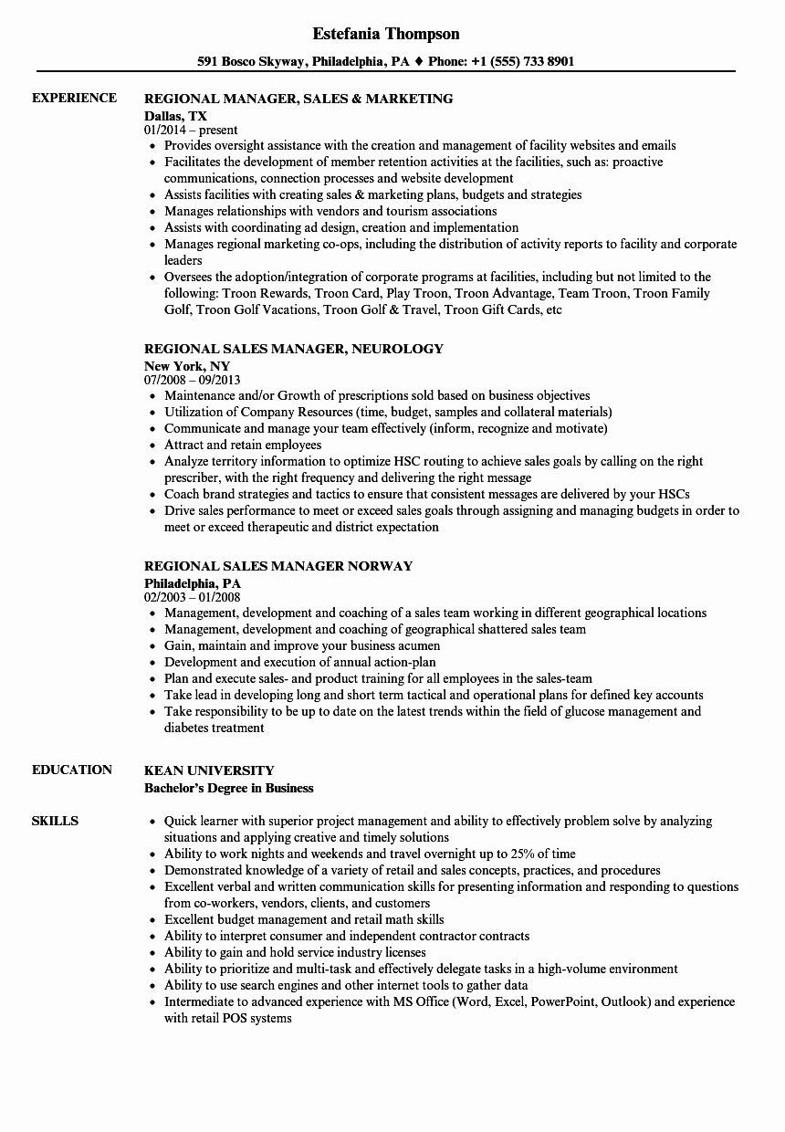 Regional Manager Sales Resume Samples