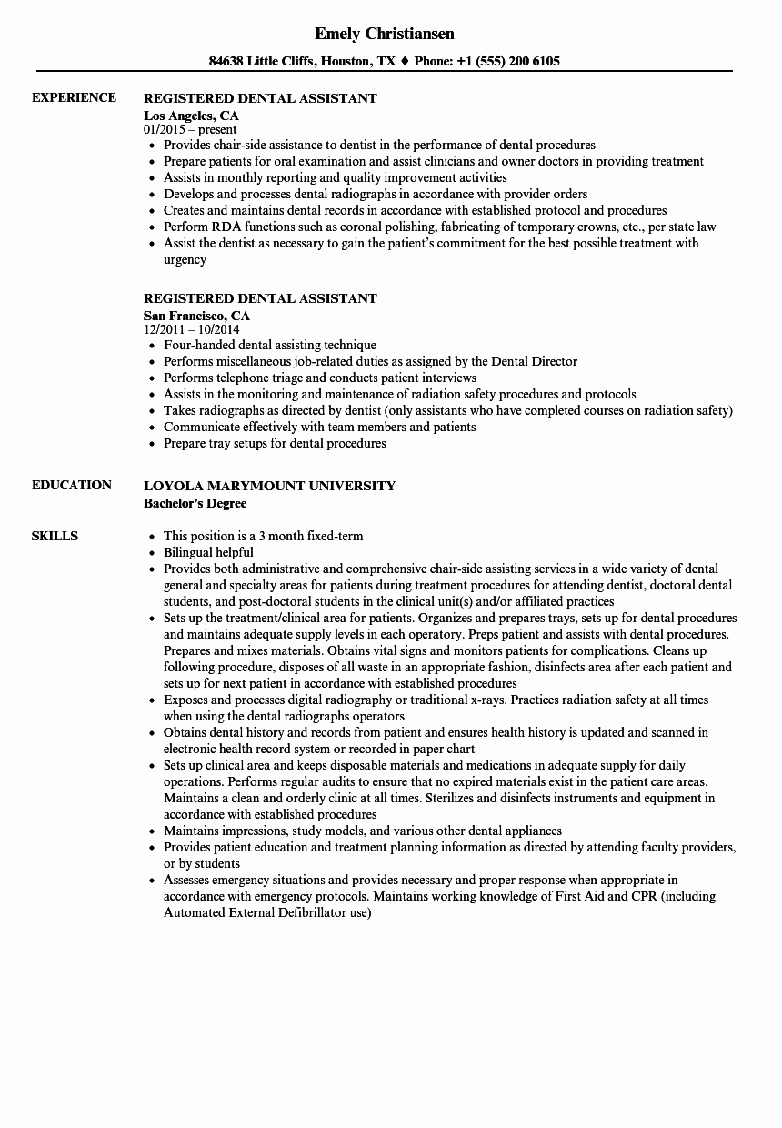 Registered Dental assistant Resume Resume Ideas