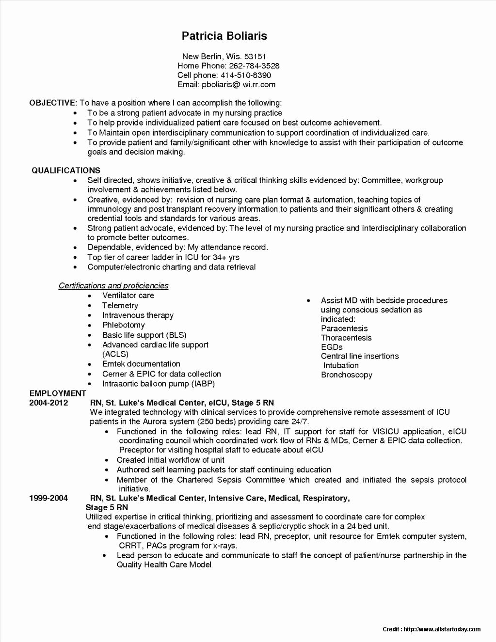 registered nurse resume sample format
