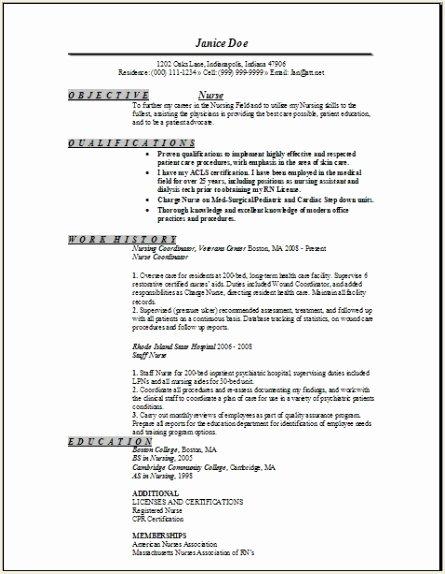 Registered Nurse Resume Sample Occupational Examples