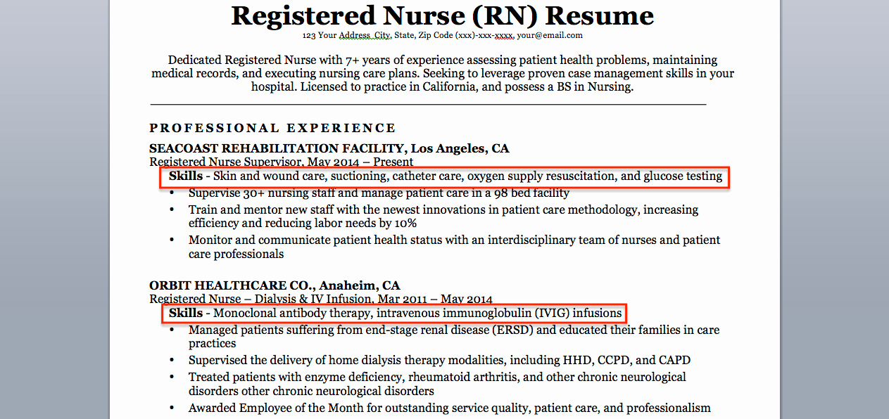 Registered Nurse Rn Resume Sample & Tips