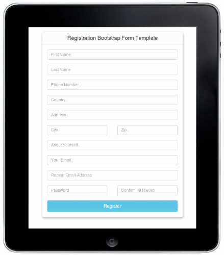 Registration Bootstrap form Template