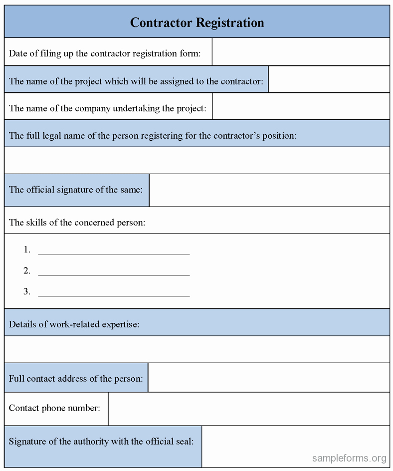 Registration form Template Excel