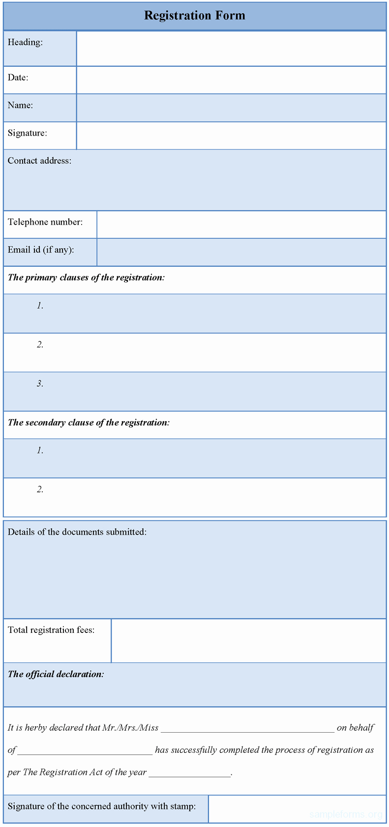 Registration form Template Sample forms