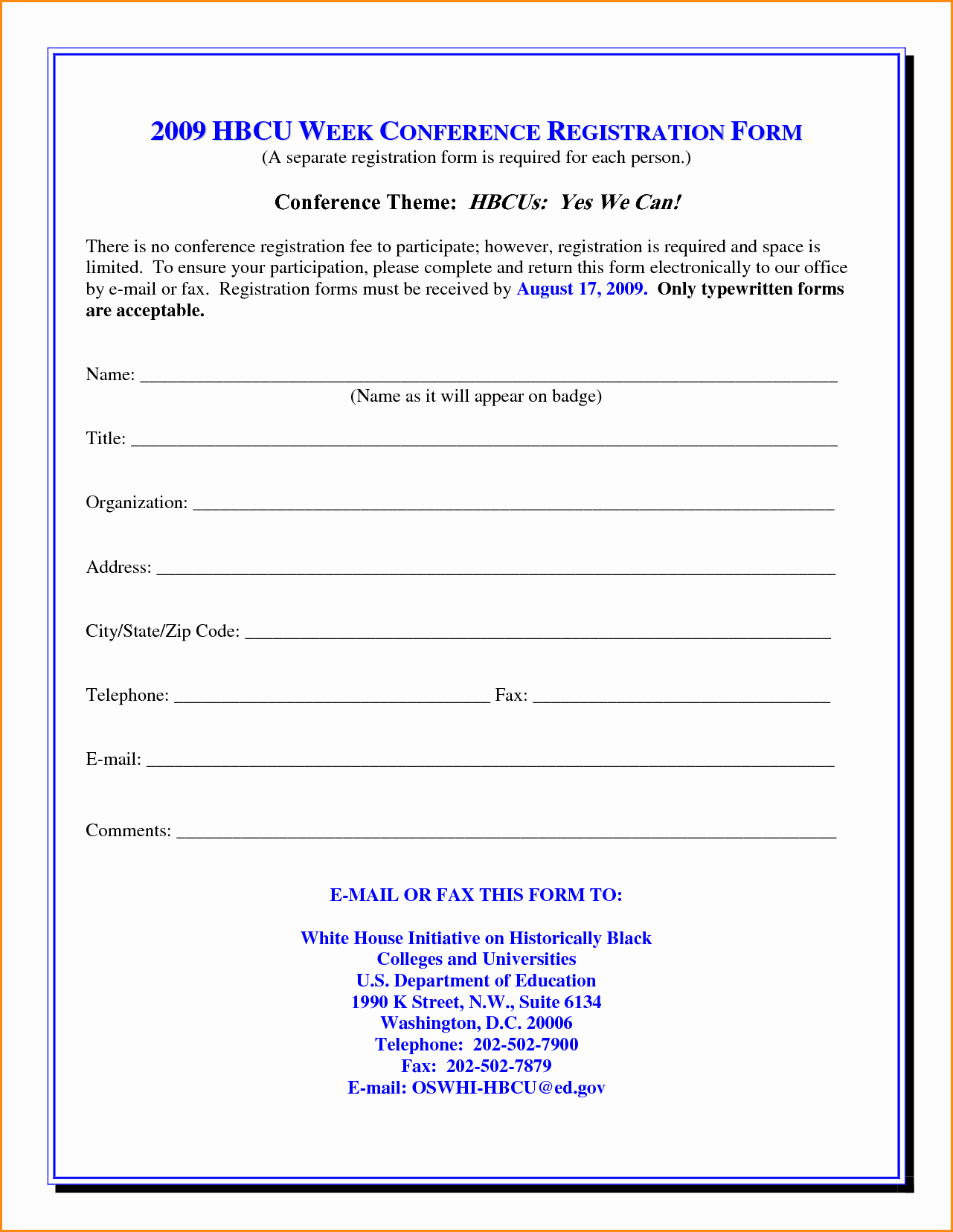 Registration form Template Word Templates Station