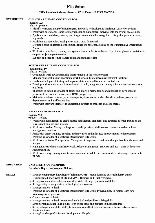 Release Coordinator Resume Samples