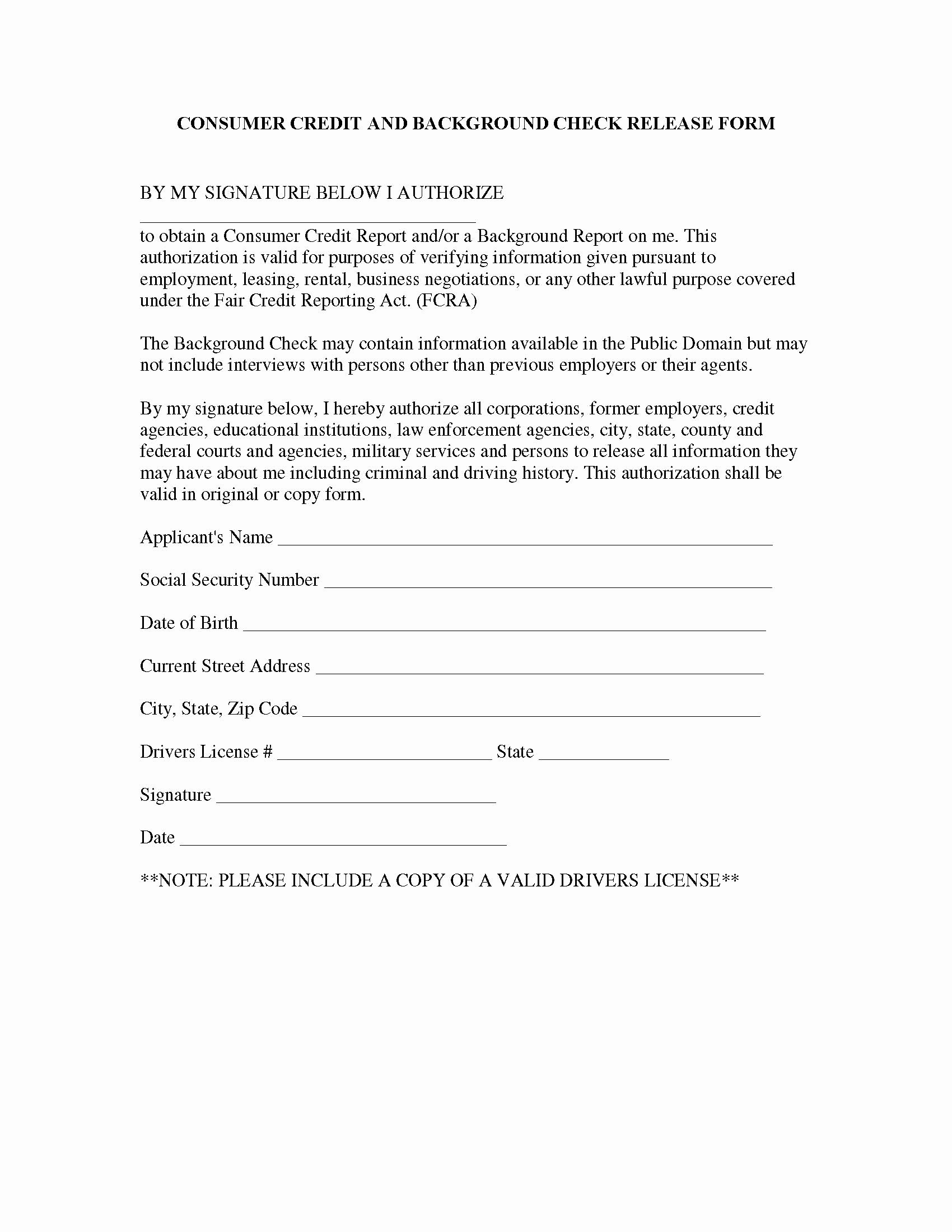 Release Information form Template
