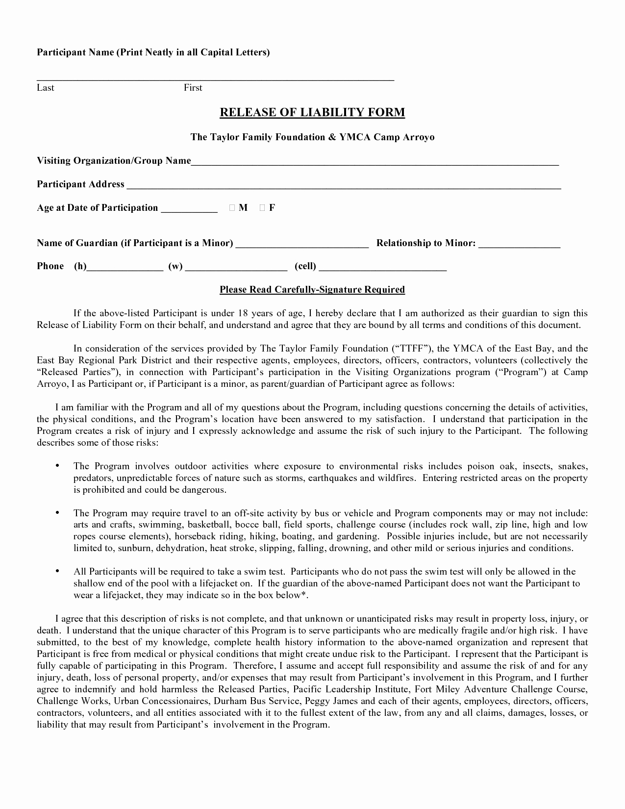 Release Liability Template Free Portablegasgrillweber