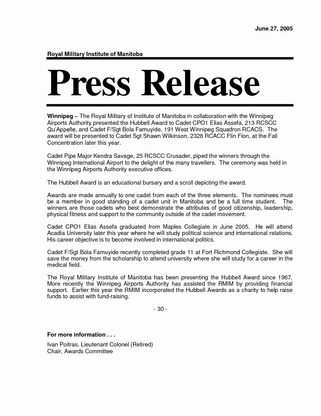 Release Press Release Template