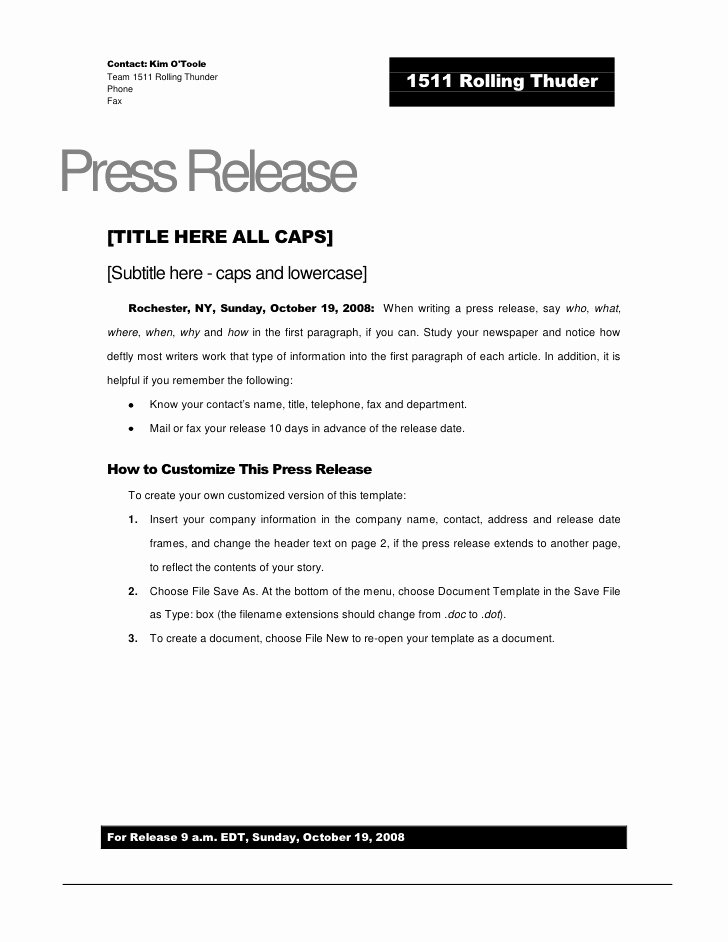 Release Template Free Printable Documents