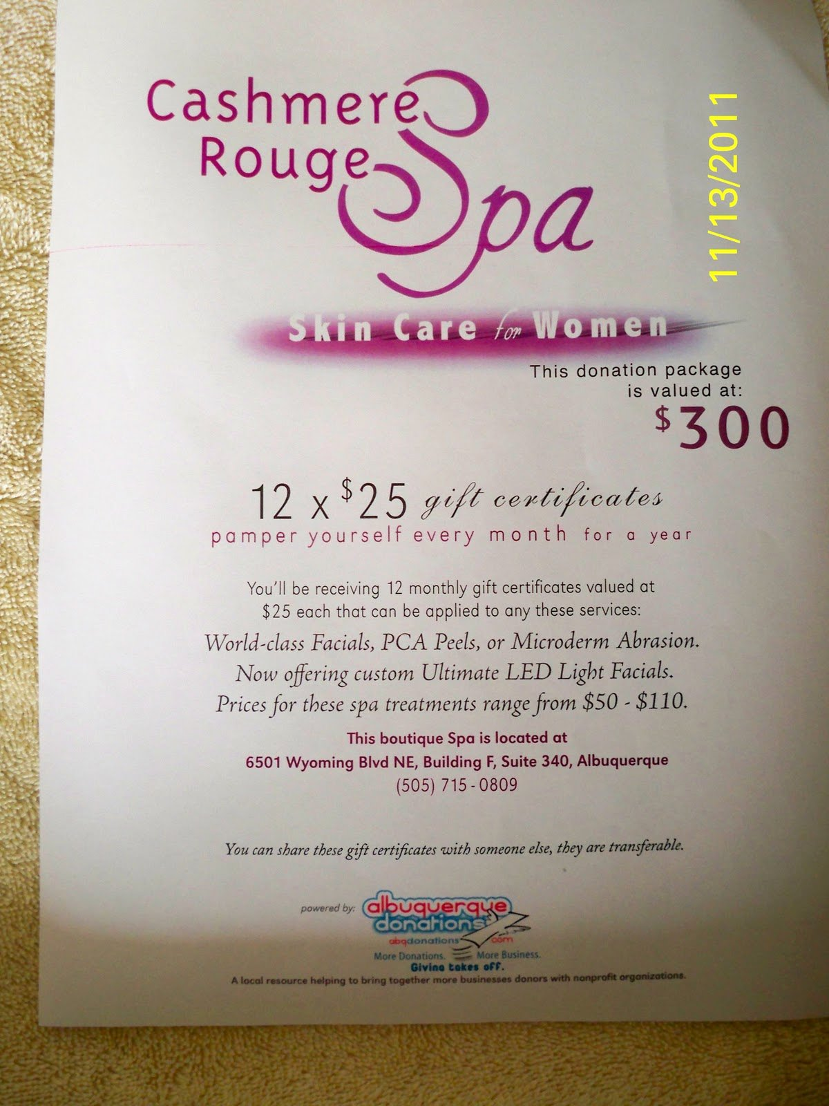 Relentless for A Cure Silent Auction Cashmere Rouge Spa