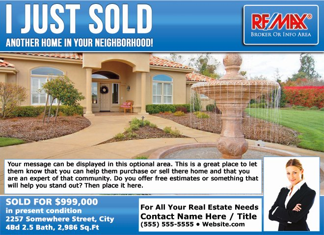 Remax Eddm Just sold Postcards