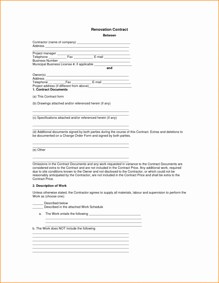 Remodeling Contract Template Sample Sarahepps