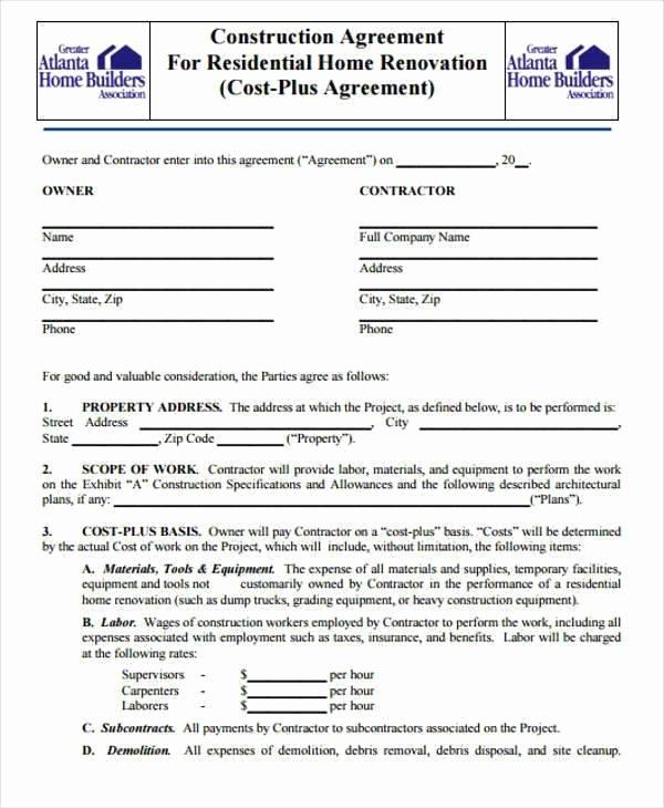 Remodeling Contract Template Sample Staruptalent