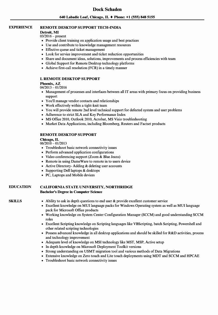 Remote Desktop Support Resume Resume Ideas