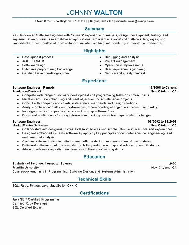 Remote software Engineer Resume Examples – Free to Try
