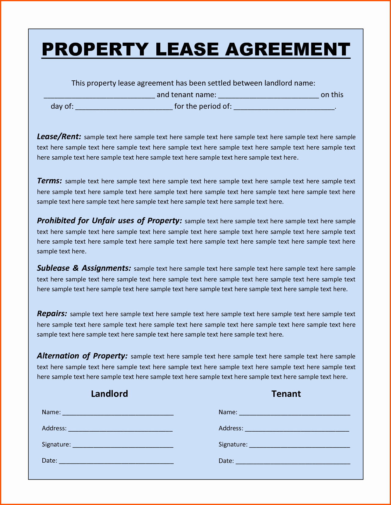 Renal Agreement Lease Agreement Template